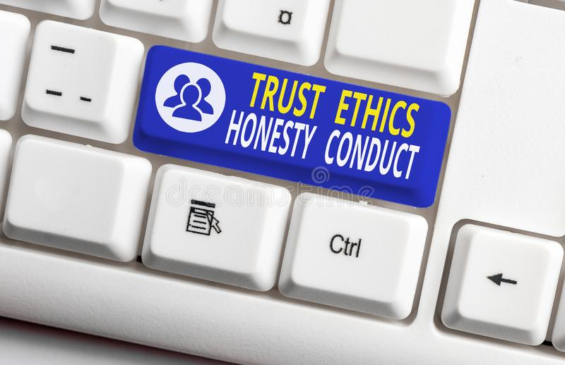 Handwriting text writing Trust Ethics Honesty Conduct. Concept meaning connotes positive and virtuous attributes White. Handwriting text writing Trust Ethics stock photo