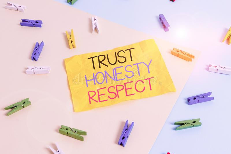 Handwriting text writing Trust Honesty Respect. Concept meaning Respectable Traits a Facet of Good Moral Character. Handwriting text writing Trust Honesty stock image