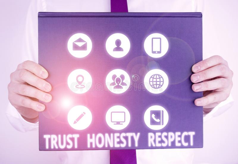 Handwriting text writing Trust Honesty Respect. Concept meaning Respectable Traits a Facet of Good Moral Character Male. Handwriting text writing Trust Honesty stock images