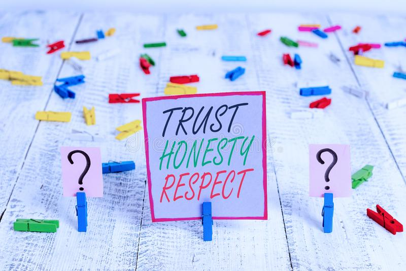 Handwriting text writing Trust Honesty Respect. Concept meaning Respectable Traits a Facet of Good Moral Character. Handwriting text writing Trust Honesty royalty free stock images