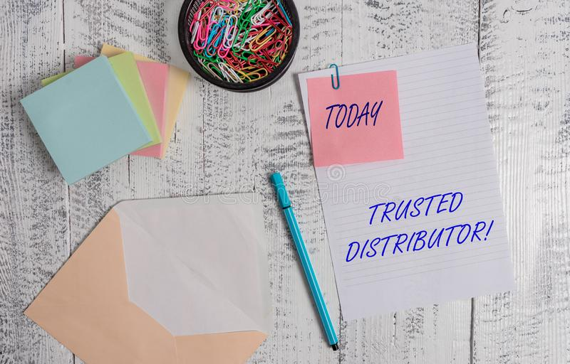 Handwriting text writing Trusted Distributor. Concept meaning Authorized Supplier Credible Wholesale Representative. Handwriting text writing Trusted Distributor stock photography