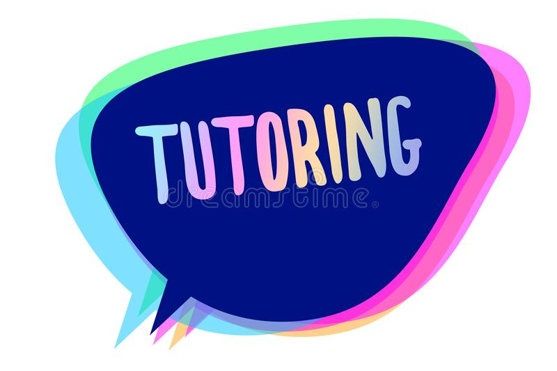 Handwriting text writing Tutoring. Concept meaning An act of a person employed to administer knowledge to someone Speech bubble id. Ea message reminder blue stock illustration