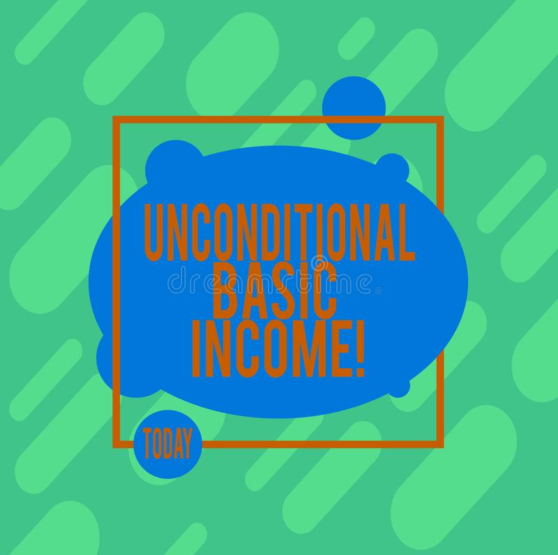 Handwriting text writing Unconditional Basic Income. Concept meaning paid income without a requirement to work. Asymmetrical Blank Oval photo Abstract Shape vector illustration