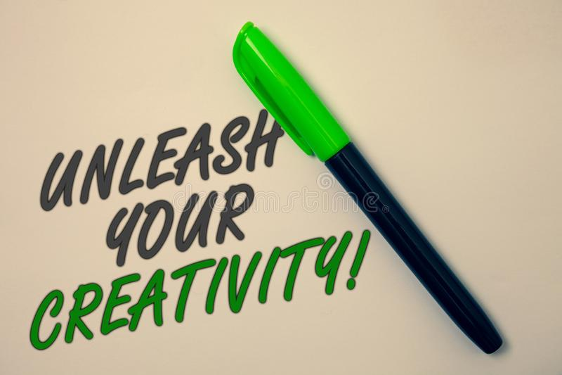 Handwriting text writing Unleash Your Creativity Call. Concept meaning Develop Personal Intelligence Wittiness Wisdom Ideas messag. E beige background green pen royalty free stock photos