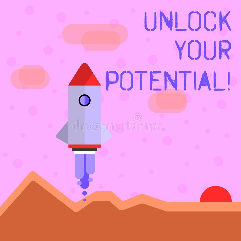 Handwriting text writing Unlock Your Potential. Concept meaning access your true skills and powers Believe in yourself. Handwriting text writing Unlock Your vector illustration
