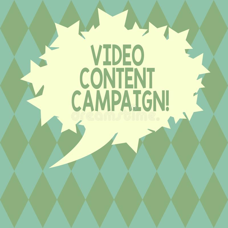Handwriting text writing Video Content Campaign. Concept meaning Integrates engaging video into marketing campaigns. Blank Oval Color Speech Bubble with Stars stock illustration