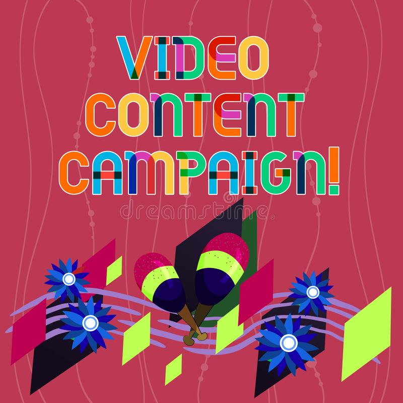 Handwriting text writing Video Content Campaign. Concept meaning Integrates engaging video into marketing campaigns. Colorful Instrument Maracas Handmade vector illustration