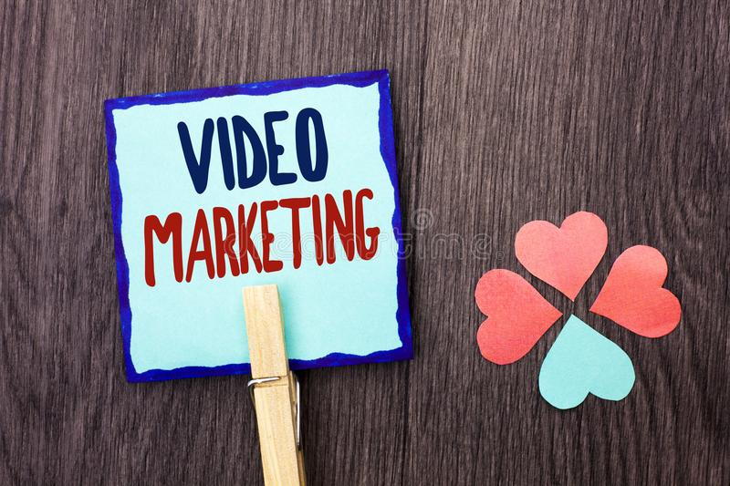 Handwriting text writing Video Marketing. Concept meaning Media Advertising Multimedia Promotion Digital Strategy written on Stick stock images