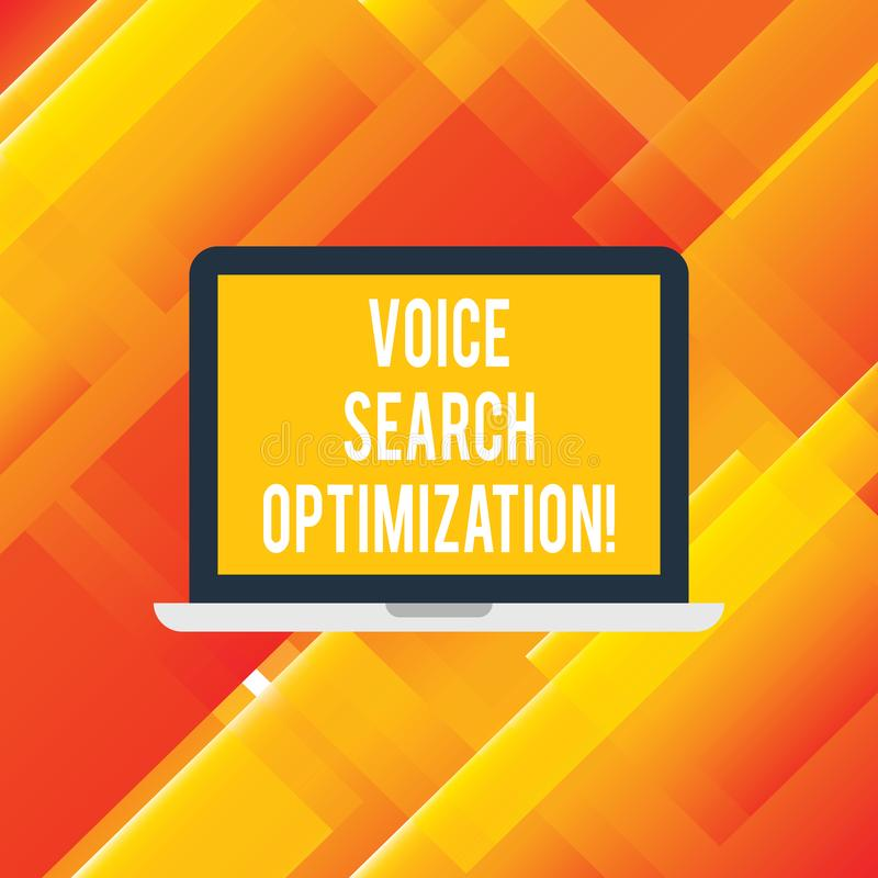 Handwriting text writing Voice Search Optimization. Concept meaning enhance web searching through spoken comanalysisds Laptop. Monitor Personal Computer Device royalty free illustration
