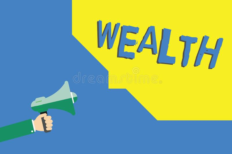 Handwriting text writing Wealth. Concept meaning Abundance of valuable possessions or money To be very rich Luxury.  royalty free illustration
