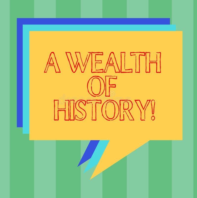 Handwriting text writing A Wealth Of History. Concept meaning Valuable ancient stories ancient cultures traditions Stack. Of Speech Bubble Different Color Blank stock illustration