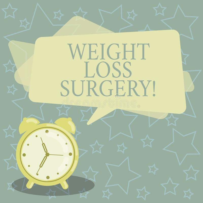 Handwriting text writing Weight Loss Surgery. Concept meaning do on stomach intestines to help demonstrating extreme. Obesity Blank Rectangular Color Speech royalty free illustration