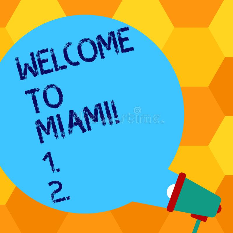 Handwriting text writing Welcome To Miami. Concept meaning Arriving to Florida sunny city summer beach vacation Blank stock illustration