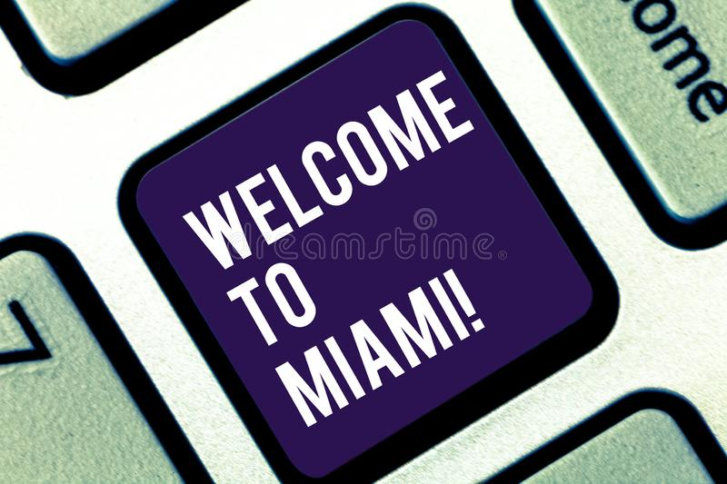 Handwriting text writing Welcome To Miami. Concept meaning Arriving to Florida sunny city summer beach vacation Keyboard. Handwriting text writing Welcome To royalty free stock images