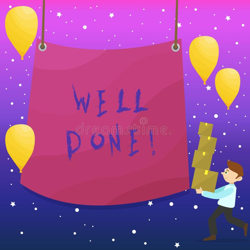 Handwriting text writing Well Done. Concept meaning used praising demonstrating or group for something have done good. Handwriting text writing Well Done stock illustration