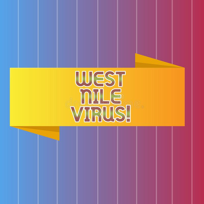 Handwriting text writing West Nile Virus. Concept meaning Viral infection cause typically spread by mosquitoes. Handwriting text writing West Nile Virus vector illustration