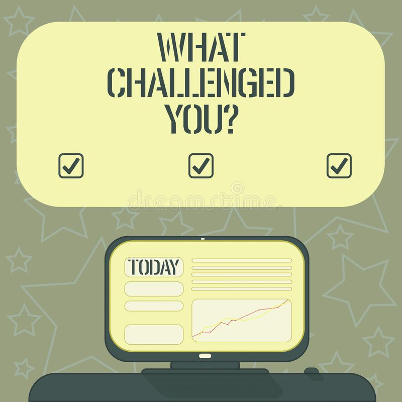 Handwriting text writing What Challenged You. Concept meaning call someone to participate in competitive situation. Mounted Computer Screen with Line Graph on vector illustration