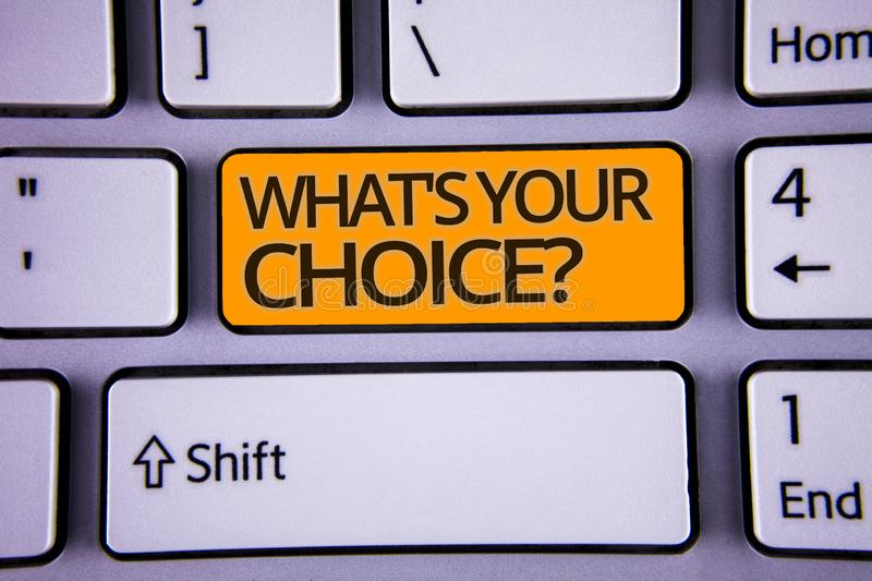 Handwriting text writing What S Your Choice Question. Concept meaning Option Decision Preferred Opinion Preference Silver color po. Lished modern computer stock photo