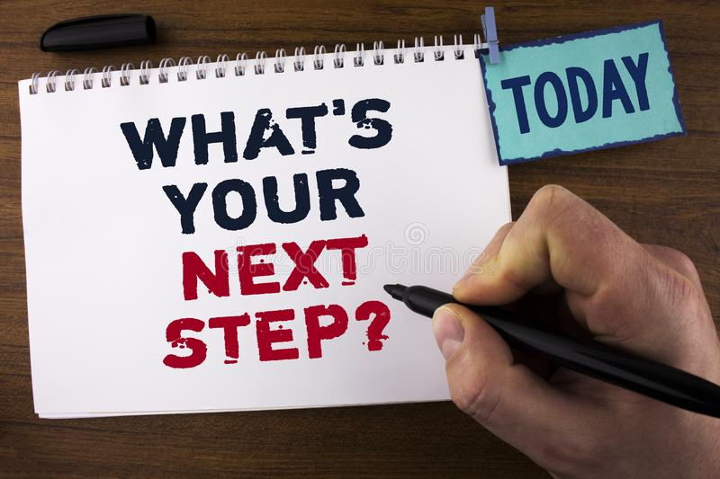 Handwriting text writing What iS Your Next Step Question. Concept meaning Analyse ask yourself before taking decisions written by stock photography