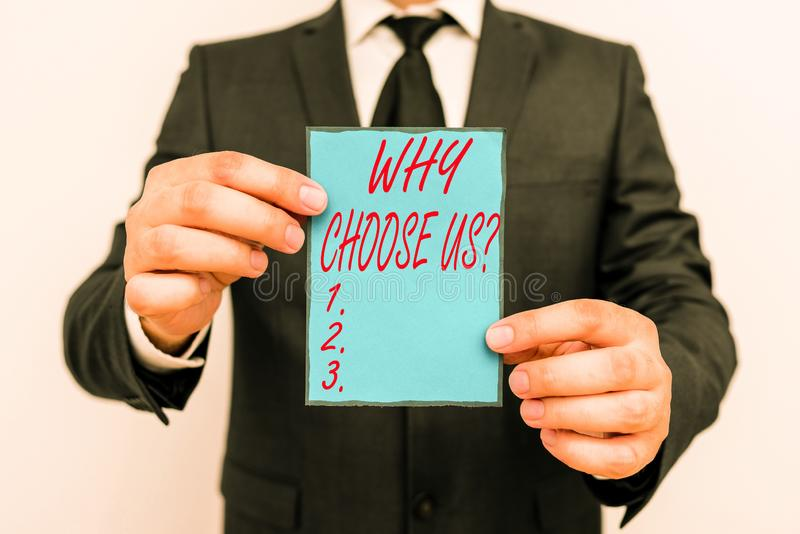 Handwriting text writing Why Choose Us Question. Concept meaning list of advantages and disadvantages to select product. Handwriting text writing Why Choose Us stock photography