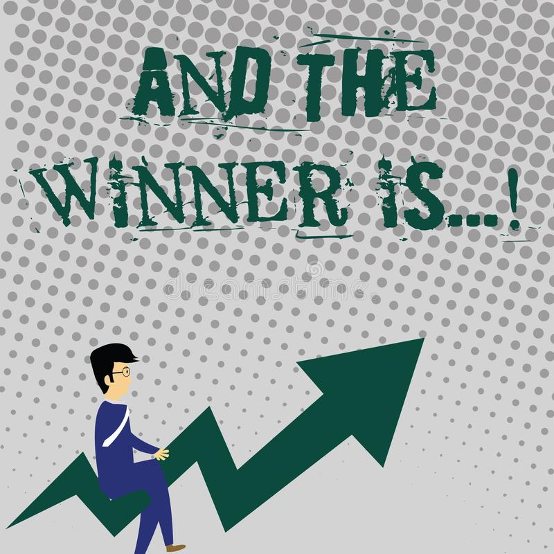 Handwriting text writing And The Winner Is. Concept meaning announcing who got first place at competition or exam vector illustration