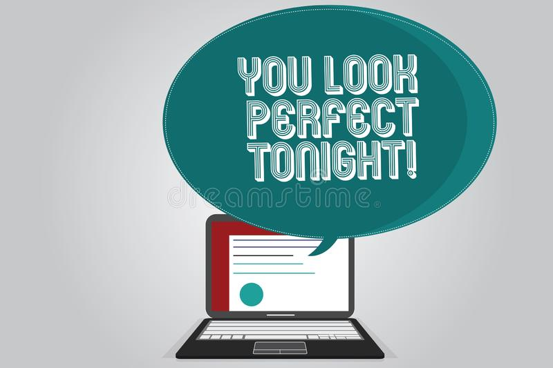 Handwriting text writing You Look Perfect Tonight. Concept meaning Flirting beauty appreciation roanalysistic feelings. Certificate Layout on Laptop Screen and vector illustration