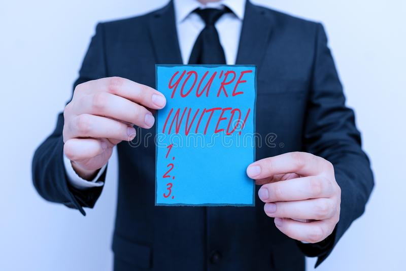 Handwriting text writing You Re Invited. Concept meaning make a polite friendly request to someone go somewhere. Handwriting text writing You Re Invited royalty free stock photography