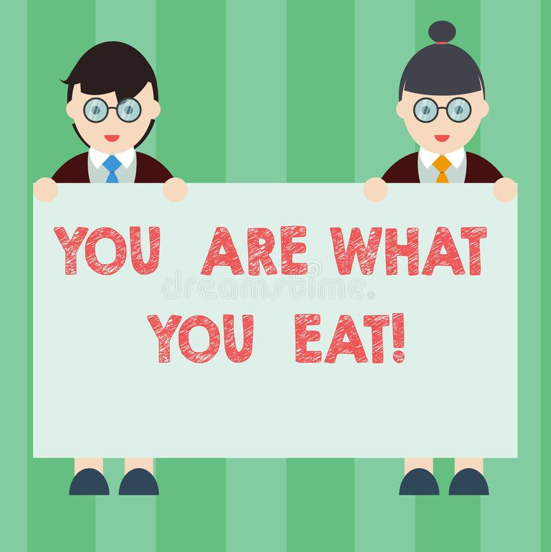 Handwriting text writing You Are What You Eat. Concept meaning Have a healthy lifestyle take care of your foods Male and stock illustration