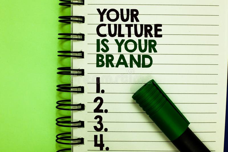 Handwriting text Your Culture Is Your Brand. Concept meaning Knowledge Experiences are a presentation card Written letters and num. Bers on notepad laid green royalty free stock photography