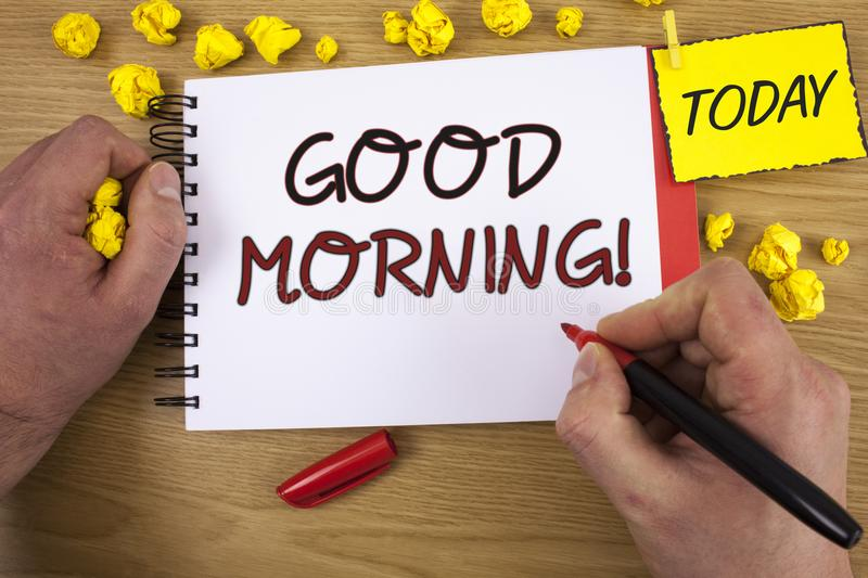 Handwriting text writing Good Morning Motivational Call. Concept meaning Greeting Wishes for a great day Inspirational. Handwriting textss writing Good Morning royalty free stock images