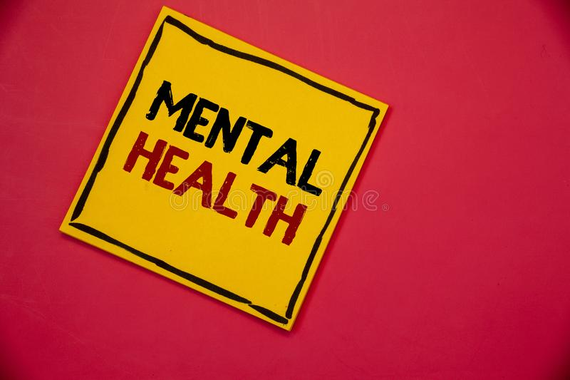 Handwriting text writing Mental Health. Concept meaning Psychological and Emotional Condition Wellbeing of a person. Handwriting textss writing Mental Health stock photography