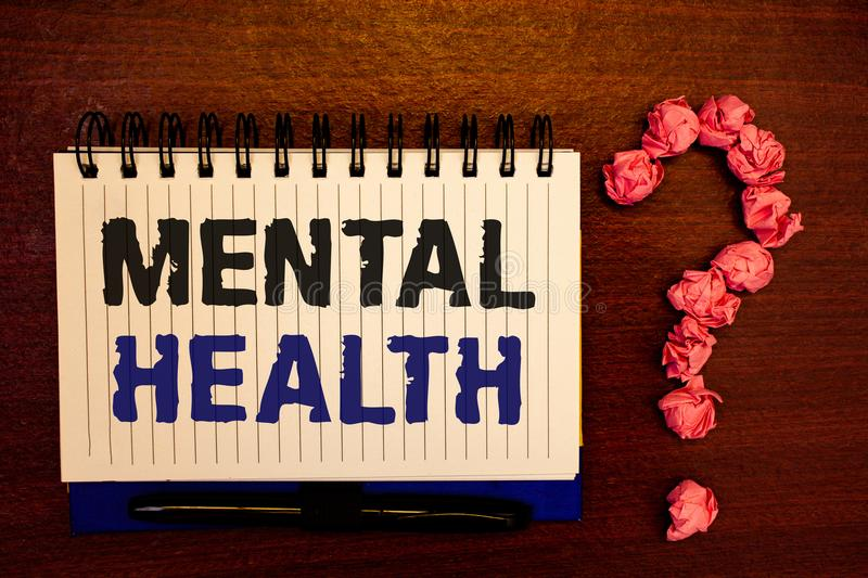Handwriting text writing Mental Health. Concept meaning Psychological and Emotional Condition Wellbeing of a person. Handwriting textss writing Mental Health royalty free stock photography