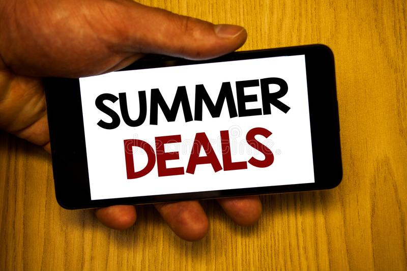 Handwriting text writing Summer Deals. Concept meaning Special Sales Offers for Vacation Holiday Trips Price Discounts. Handwriting textss writing Summer Deals stock images