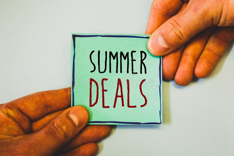 Handwriting text writing Summer Deals. Concept meaning Special Sales Offers for Vacation Holiday Trips Price Discounts. Handwriting textss writing Summer Deals royalty free stock image