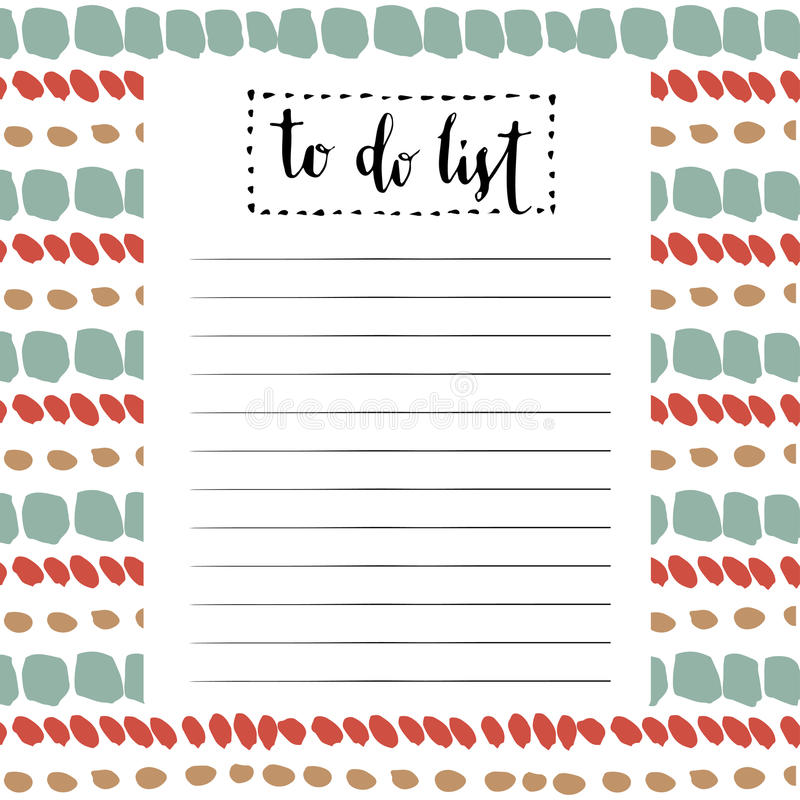 Calendar Illustration List : Handwriting to do list vector cute blank with lettering