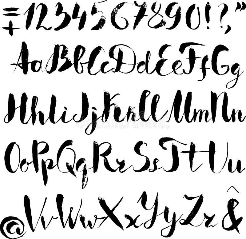 Download Handwritten Alphabet Written With Brush Pen Stock Vector