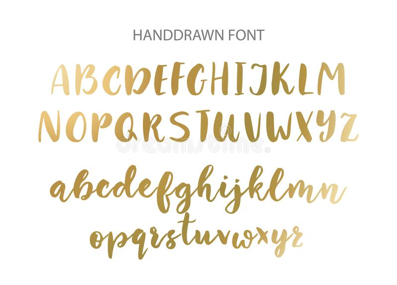 Handwritten Brush font. Hand drawn brush style modern calligraphy. royalty free illustration