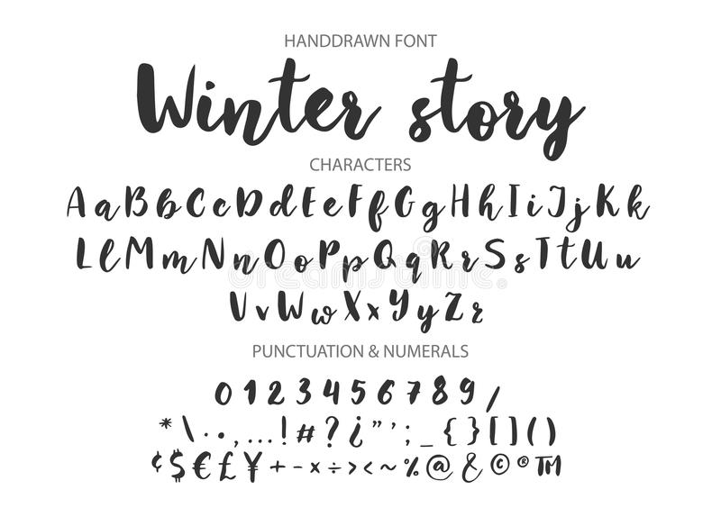 Handwritten Brush font. Hand drawn brush style modern calligraphy. Winter story. Handwritten Brush font for lettering quotes. Hand drawn brush style modern stock illustration