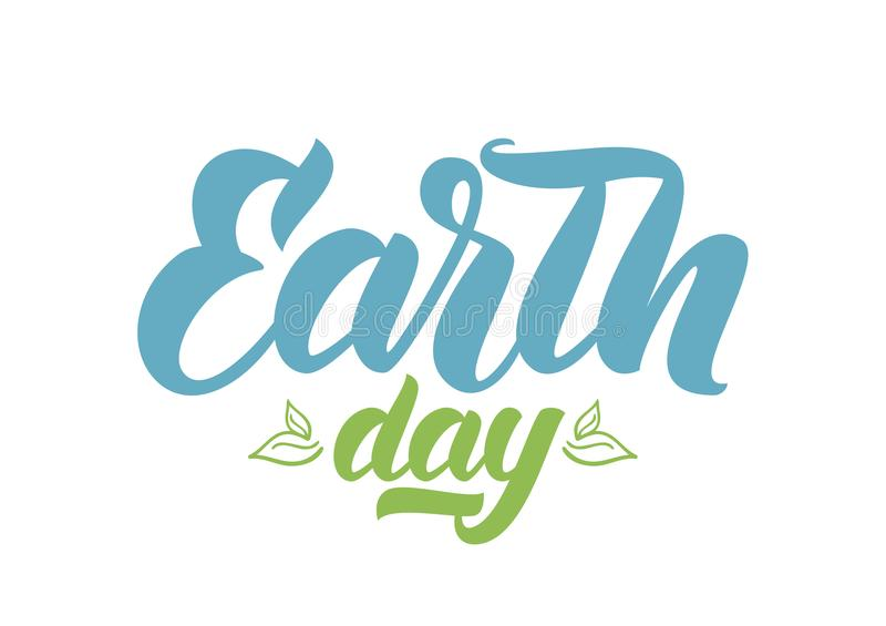 Handwritten brush lettering of Earth Day with Hand drawn leaves on white background. vector illustration