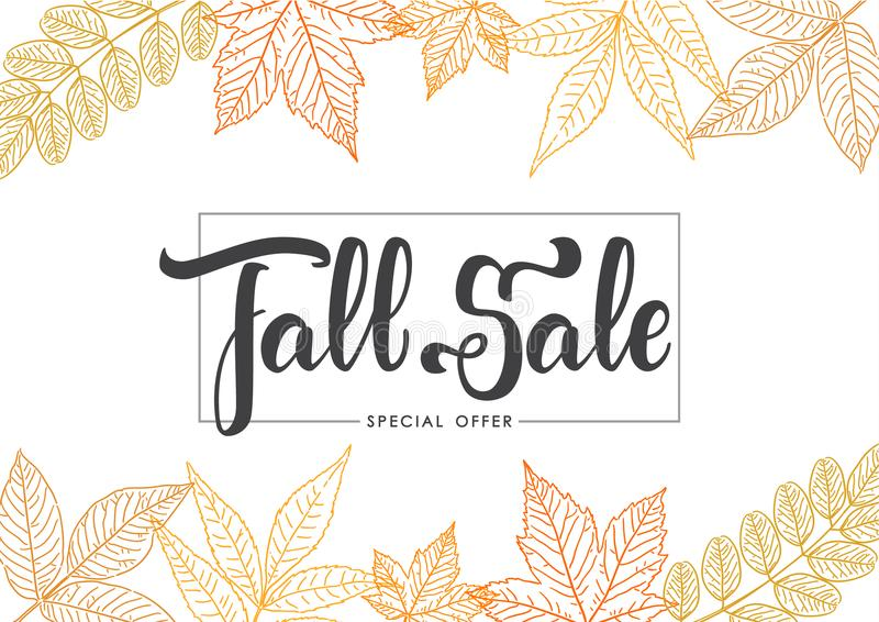 Handwritten brush lettering of Fall Sale on foliage background. Discount special offer. Vector illustration: Handwritten brush lettering of Fall Sale on foliage vector illustration