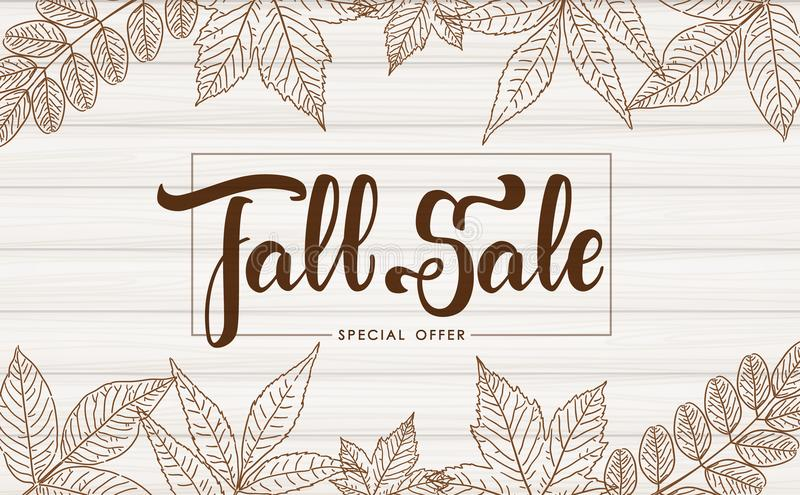 Handwritten brush lettering of Fall Sale on wood texture background. Discount special offer. Vector illustration: Handwritten brush lettering of Fall Sale on royalty free illustration