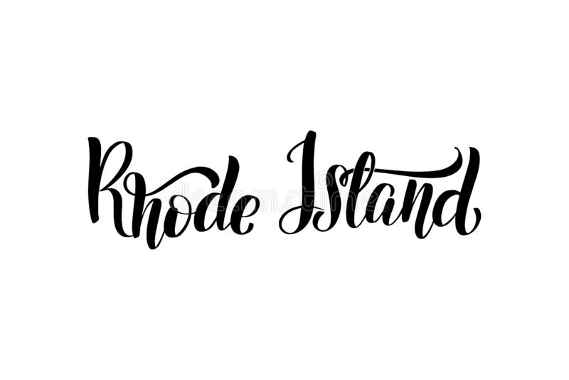Handwritten brush lettering. Inspirational handwritten brush lettering Rhode Island. Vector calligraphy illustration isolated on white background. Typography for stock illustration