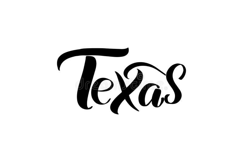 Handwritten brush lettering. Inspirational handwritten brush lettering Texas. Vector calligraphy illustration isolated on white background. Typography for stock illustration