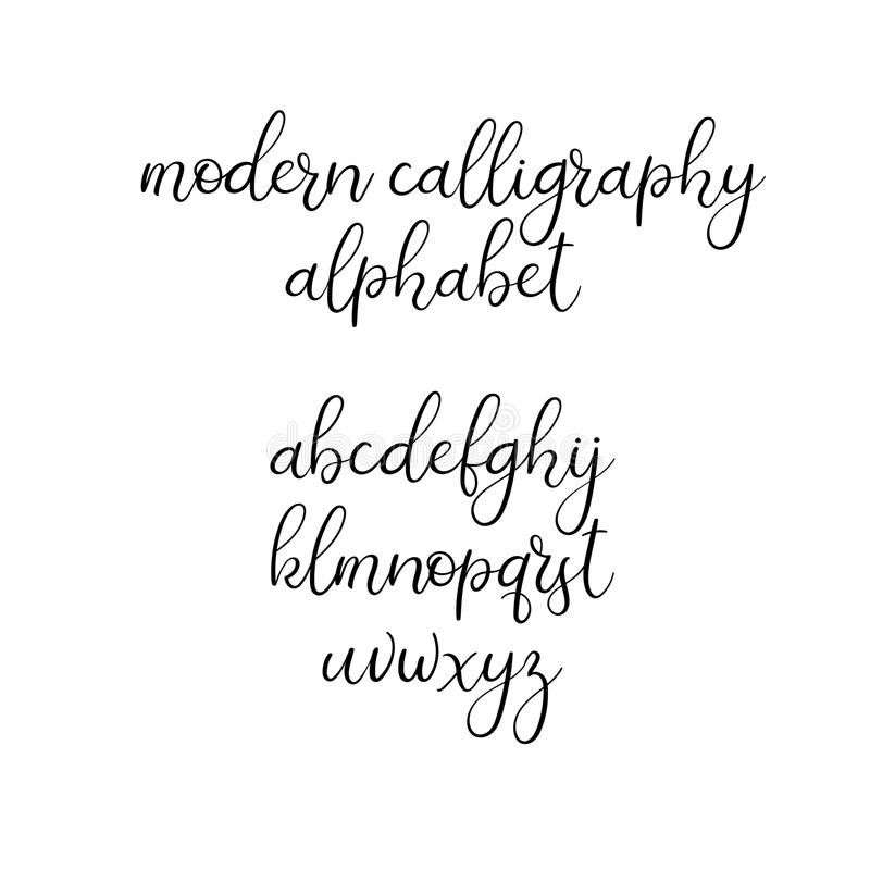 Download Handwritten Brush Letters ABC Modern Calligraphy Hand Lettering Vector Alphabet Stock