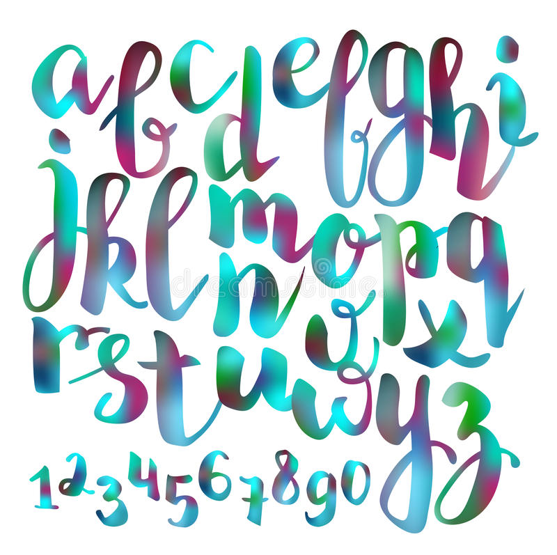 Handwritten brush pen colorful font royalty free illustration