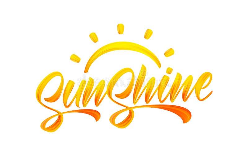 Handwritten brush stroke yellow acrylic paint lettering of Sunshine with Sun. Summer modern calligraphy. Vector illustration: Handwritten brush stroke yellow royalty free illustration