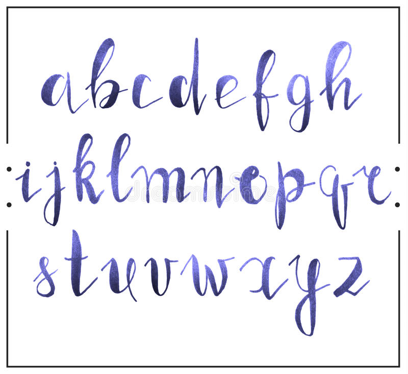 Download Handwritten Calligraphic Font Alphabet Written By A Marker Stock Vector