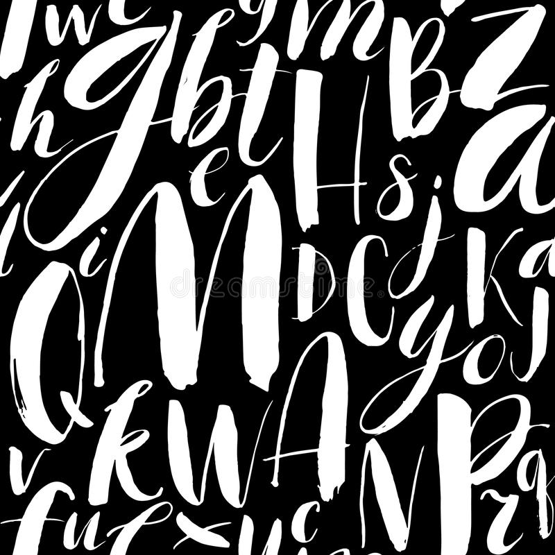 Handwritten calligraphic font seamless background. Modern brush vector illustration