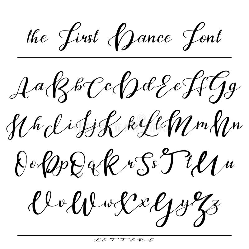 Handwritten calligraphy font vector alphabet hand drawn