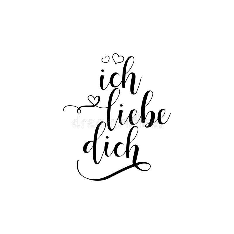 Handwritten calligraphy phrase in German Ich liebe dich. Vector illustration. translate from German I love you stock illustration